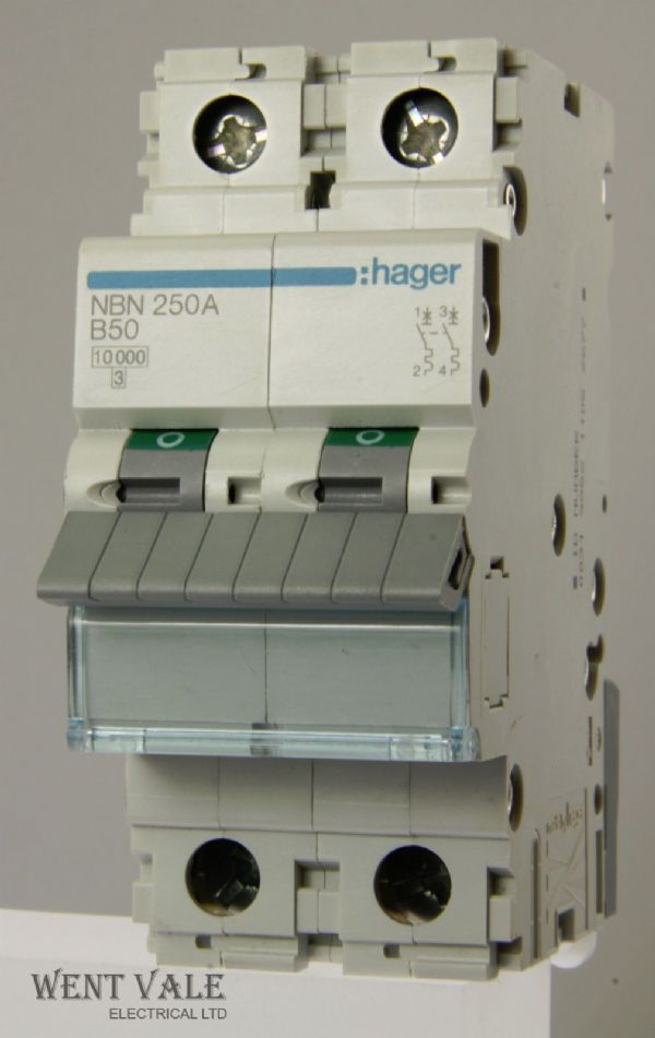 Hager - NBN250 - 50a Type B Double Pole MCB Unused